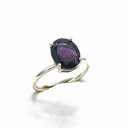 Sterling Silver Amethyst Oval  Prong Set Ring - February Birthstone Ring