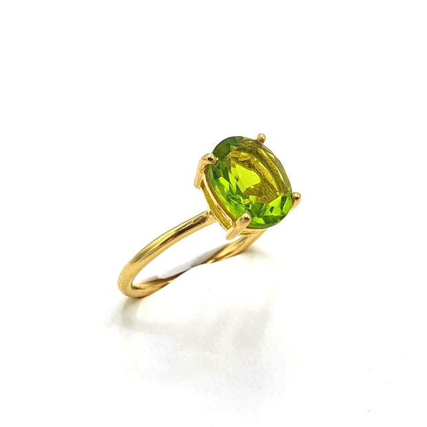 Gold Vermeil Peridot Gemstone Oval Prong Set Ring - August Birthstone Ring