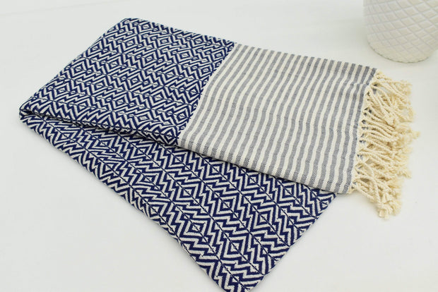 Nisa - Navy And White Organic Cotton Towel Peshtemal Fouta