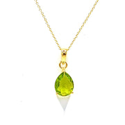 Gold Vermeil Peridot Necklace - August Birthstone Necklace