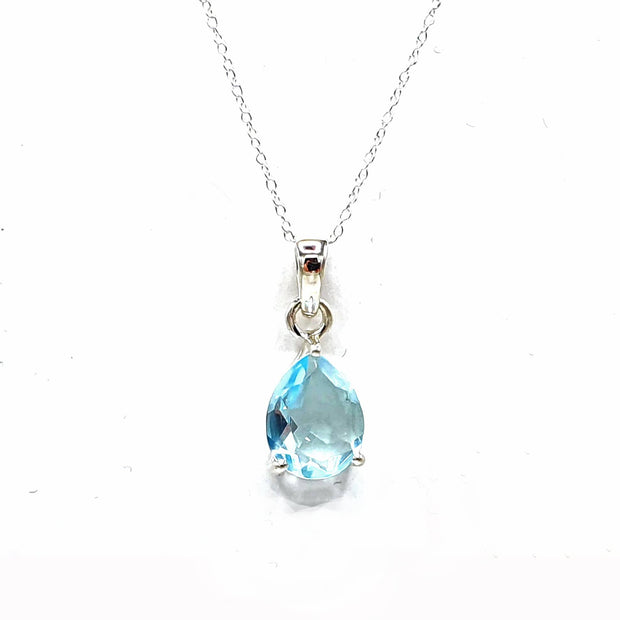 Sky Blue Topaz Sterling Silver Necklace - November Birthstone Necklace
