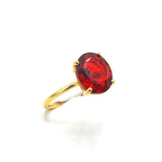 Garnet Oval Prong Set Gold Vermeil Sterling Silver Ring - January Birthstone Ring