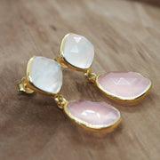 Pink and white chalcedony dangle gold vermeil earrings