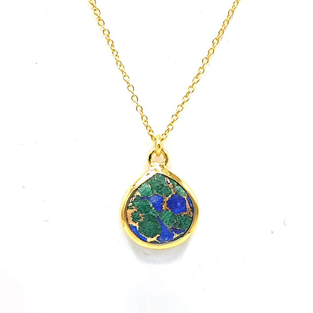 Pear Azurite Gemstone Gold Vermeil Necklace