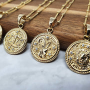 18k gold filled, 1 inch, zodiac pendant charms