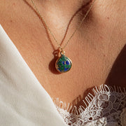 Azurite Gemtone Gold Vermeil Gemstone Necklace - May Birthstone Necklace