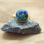Bina - Azurite Gold Plated Sterling Silver Gemstone Ring 10x10mm