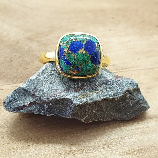 Azurite Gold Plated Sterling Silver Round Gemstone RingAzurite Gold Plated Sterling Silver Round Gemstone Ring - May Birthstone Ring