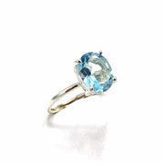 Sky Blue Topaz Oval Prong Set Sterling Silver Ring - November Birthstone Ring
