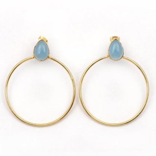 Blue chalcedony pear hoop earrings