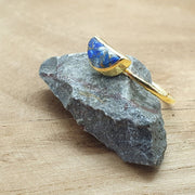 Gold vermeil lapis lazuli ring. September birthstone ring.
