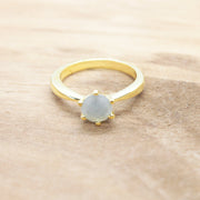 Leena - Green Onyx/ Grey Chalcedony Gold Plated Gemstone Ring