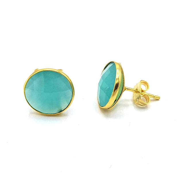 Round Aqua Chalcedony Gemstone Earrings