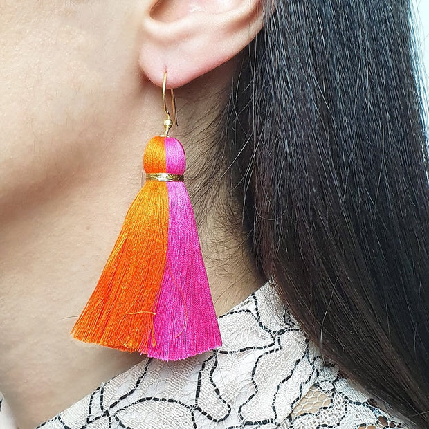 Orange and Pink tassel Pari earrings