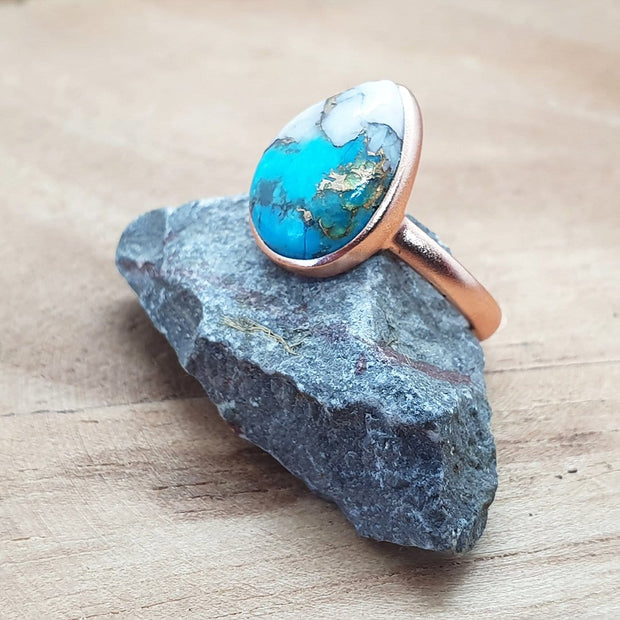 Ella - Pear Gemstone Ring, Pink, Rose Gold Plated, 10x14mm