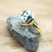 Idika - Dalmatian Jasper Hexagon Gold Plated Gemstone Ring. March Birthstone ring.