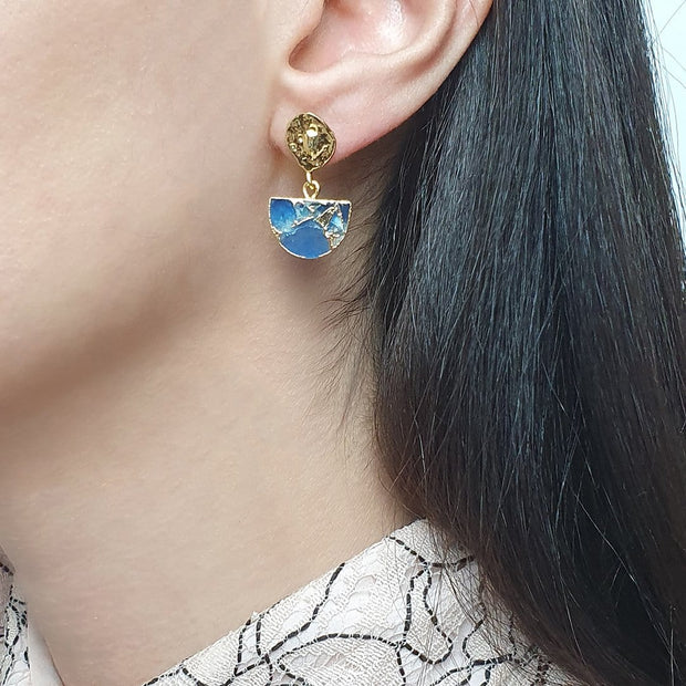 Lapis Lazuli Semicircle Stud Earrings