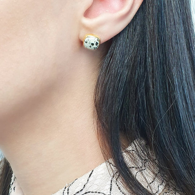 Idika Gold plated dalmatian jasper earrings. March birthstone earrings.