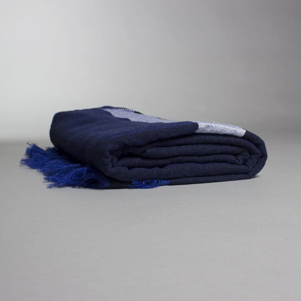 Ali - Large Navy Blue and White Striped Cotton Moroccan Throw