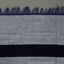 Load image into Gallery viewer, Amira - Large Light Blue And Dark Blue Striped Cotton Moroccan Throw
