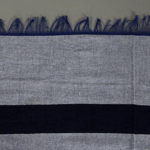 Amira - Large Light Blue And Dark Blue Striped Cotton Moroccan Throw