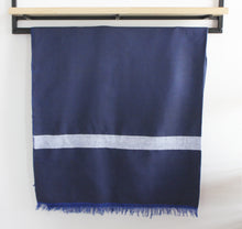 Load image into Gallery viewer, Ali - Large Navy Blue and White Striped Cotton Moroccan Throw