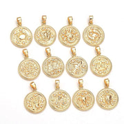 18k gold filled, 1 inch, zodiac pendant charms.