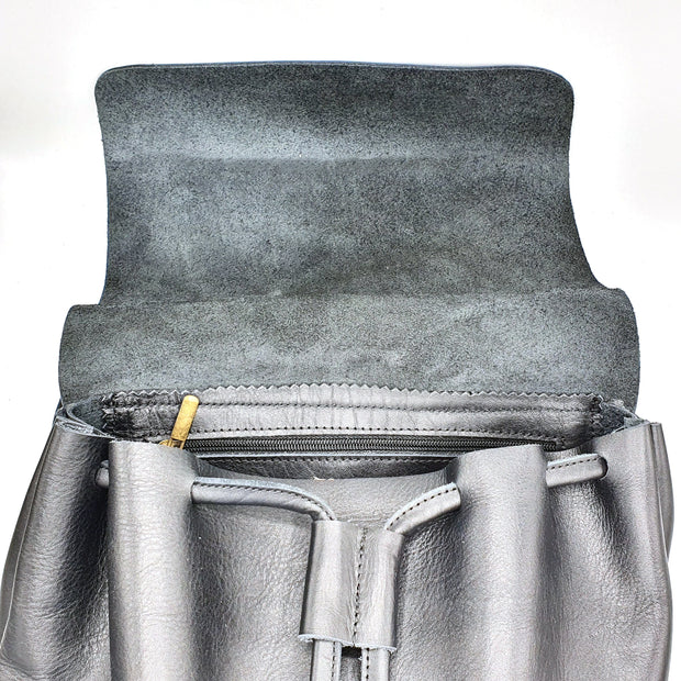 Amina - Black Leather Travel Backpack