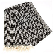 Azra Hammam Towel, Black And White