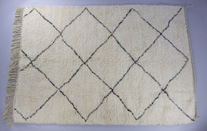 ce0705da4cd1 Beni Ourain - Cream And Black Hand-Knotted Moroccan Authentic Wool Berber  Carpet Rug 150X220CM