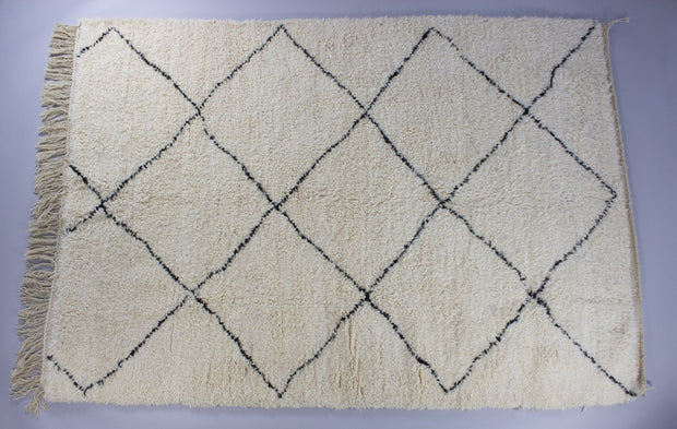 Beni Ourain - Large Cream And Black Hand-Knotted Moroccan Wool Berber Rug