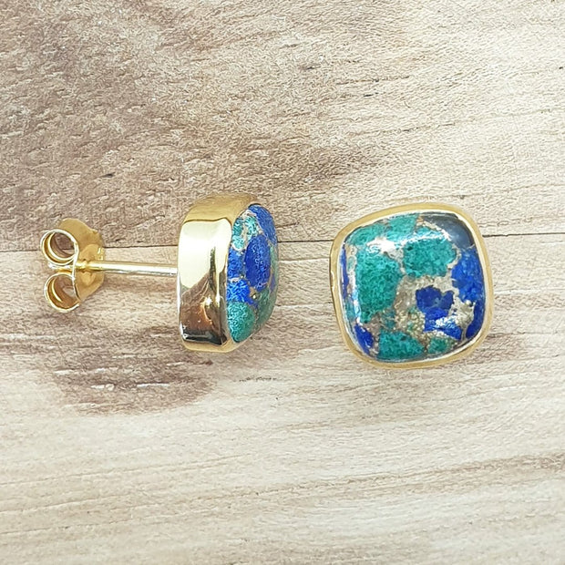 Bina - Micron Gold Plated Stud Earrings, Azurite, Cushion Gemstone Stud Earrings, 9X9mm