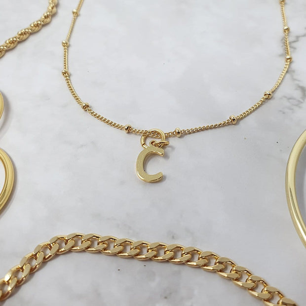 18k Gold Alpha Initial Pendant Charms - C