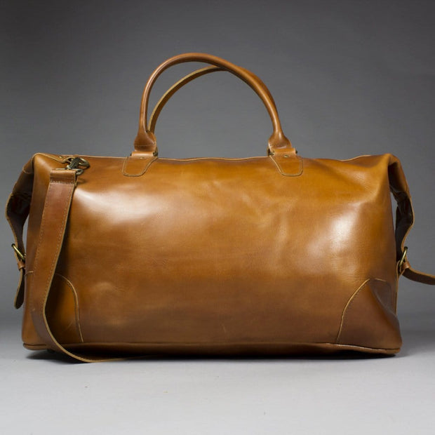 Chi - Large Brown Leather Holdall With Suede Lining
