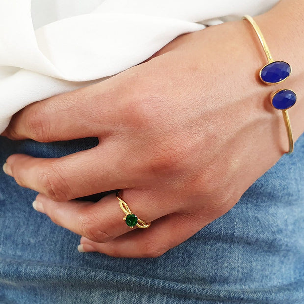 Darika - Emerald Tanzanite Gemstone Gold Plated Rings