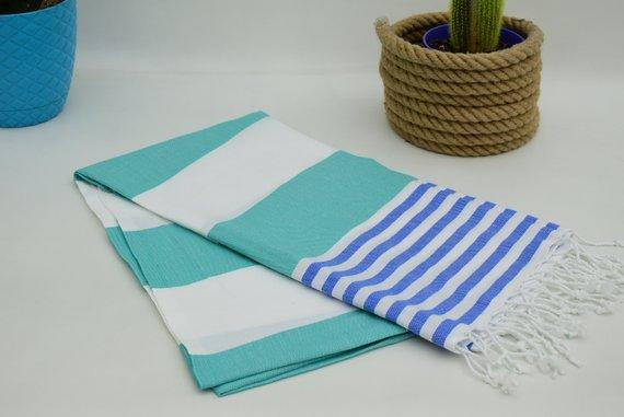 Esila Hammam Towel. Green and Parliament Blue