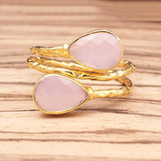 Harini - Adjustable Gold Plated Gemstone Ring In Pink