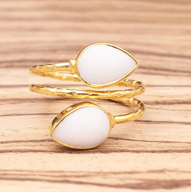 Harini - Adjustable Gold Plated Gemstone Ring In White