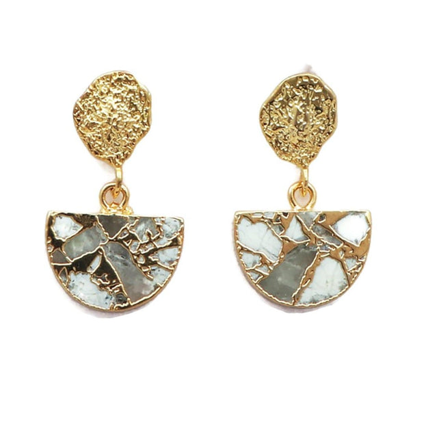 Hemal - Gold Plated Howlite Semicircle Stud Earrings