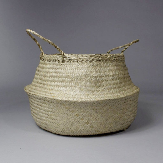 Hoa - Folding Beige Seagrass Belly Picnic Basket
