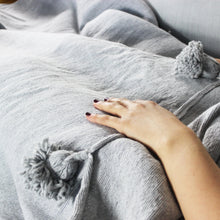 Load image into Gallery viewer, Imane - Large Grey Heavy Cotton Moroccan Pompom Throw