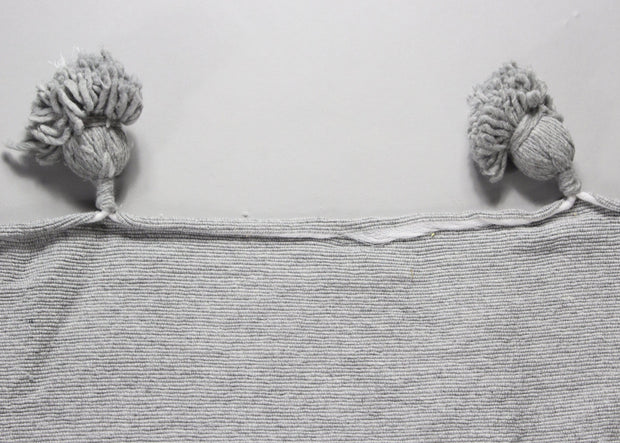 Imane - Large Grey Heavy Cotton Moroccan Pompom Throw
