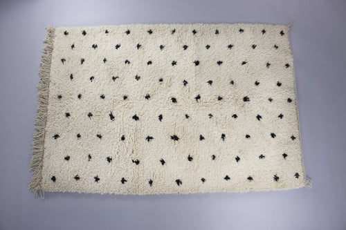 Jamal - Cream Wool Authentic Moroccan Handmade Berber Carpet Rug with Black Dots