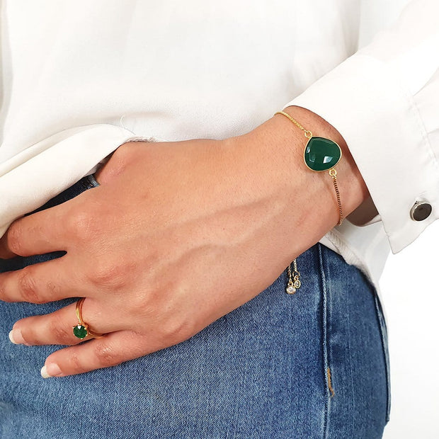 Jasmin - Green Onyx Gemstone Adjustable Bracelet Bracelet