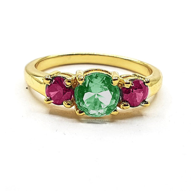 Kiara - Emerald And Pink Round Gemstone Ring