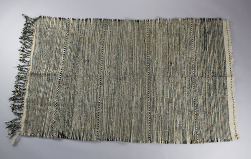f2a613cff31e Latifah - Dark Black and White Hand-Knotted Thin Stripped Berber Wool Rug  Carpet from