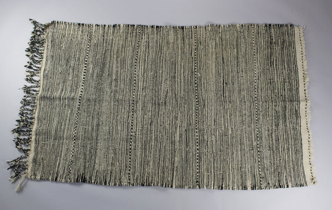 Latifah - Dark Black and White Hand-Knotted Berber Carpet