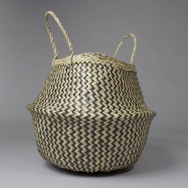 Linh - Folding Black Patterned Seagrass Storage Belly Basket