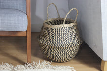Load image into Gallery viewer, Linh - Folding Black Patterned Seagrass Storage Belly Basket