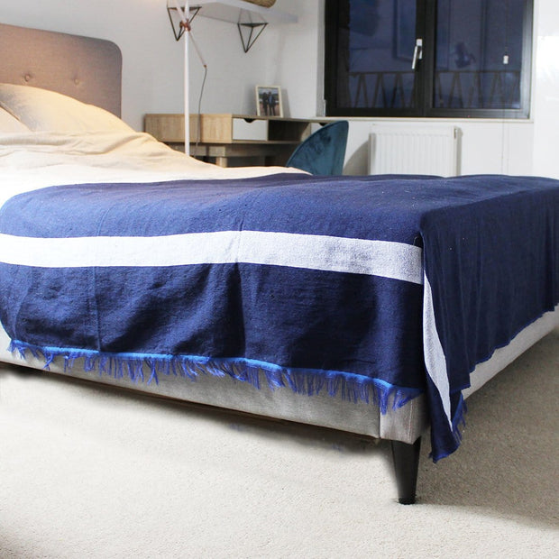 Luna Moroccan Throw, Oxford Blue
